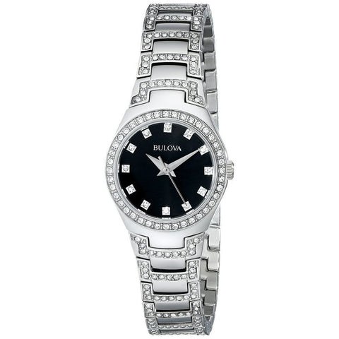 Bulova 96L170 Women's Crystal Analog Display Quartz Watch, Silver Stainless Steel Band, Round 24.5mm Case