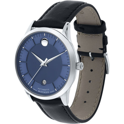 Movado 0606874 1881 Automatic Analog Display Automatic Watch, Black Leather Band, Round 39.5mm Case