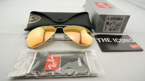 Ray-Ban RB3025 019/Z2 Aviator Flash Lenses Sunglasses, Silver Frame, Copper Flash 58mm Lenses