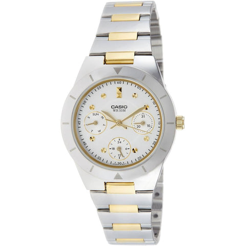 Casio LTP-2083SG-7AVDF Women's Enticer Analog Display Chronograph Quartz Watch, Two-Toned Stainless Steel Band, Round 31mm Case