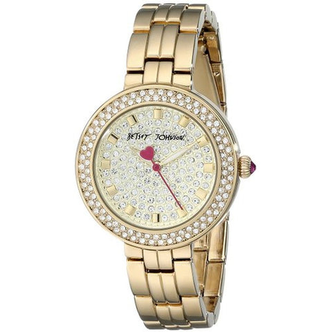 Betsey Johnson BJ00429-02 Women's Analog Display Quartz Watch, Gold Stainless Steel Band, Round 33mm Case