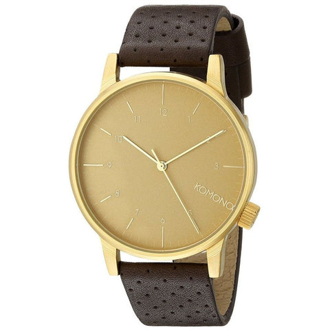 Komono KOM-W2001 Unisex Winston Gold Analog Display Quartz Watch, Brown Leather Band, Round 41mm Case