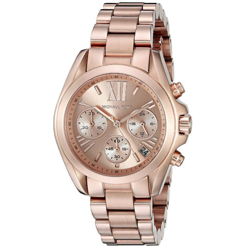 Michael Kors MK5799 Bradshaw Analog Display Chronograph Quartz Watch, Rose Gold Stainless Steel Band, Round 36mm Case