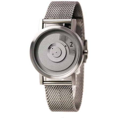 Projects 7203G-S/S Reveal Analog Display Quartz Watch, Silver Stainless Steel Mesh Band, Round 33mm Case