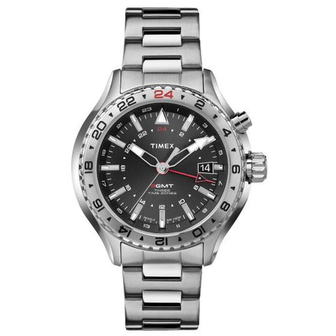 Timex T2P424 3-GMT With Intelligent Quartz Technology Men's Analog Display Watch, Silver Stainless Steel Band, Round 47mm Case