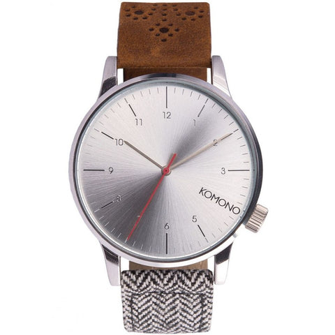 Komono KOM-W2201 Unisex Winston Galore Walnut / Herringbone Analog Display Quartz Watch, Multicolor Leather Band, Round 41mm Case