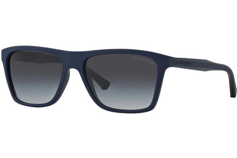 Emporio Armani EA4001 5065/8G Sunglasses, Blue Rubber Frame, Gray Gradient 56mm Lenses