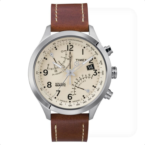 Timex T2N932DH Intelligent Quartz Fly-Back Chronograph Analog Display Quartz Watch, Brown Leather Band, Round 43mm Case