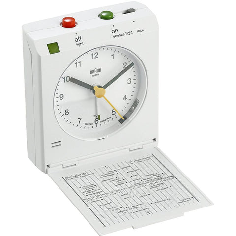 Braun BNC005WHWH Reflex Control Analog Display Quartz Travel Alarm Clock, White Rectangle Case
