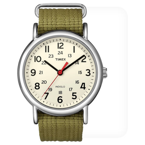 Timex T2N651KW Weekender Slip Thru Analog Display Quartz Unisex Watch, Green Nylon Band, Round 38mm Case