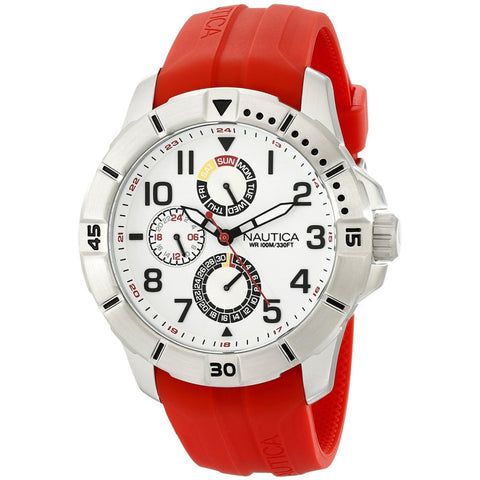 Nautica NAD12506G Men's Analog Display Quartz Watch, Red Silicone Band, Round 47mm Case
