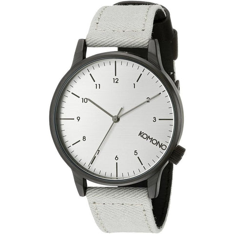 Komono KOM-W2120 Winston Heritage Duotone Grey Analog Quartz Watch, Grey Canvas Band, Round 41mm Case