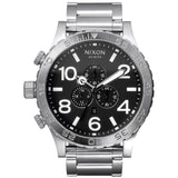 Nixon Men's A083000 51-30 Chrono Black Analog Watch, Silver Stainless Steel Band, Round 51mm Case