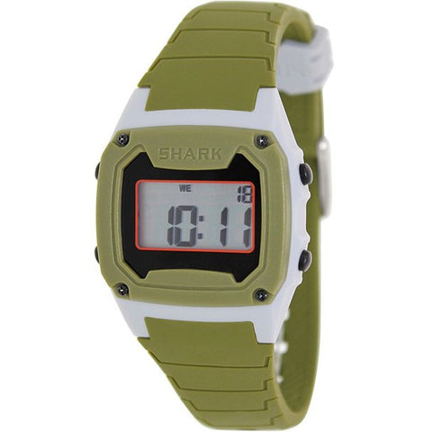 Freestyle Men's 103322 Shark Classic Grey/Green Digital Watch, Green Silicone Band, Square 37mm Case