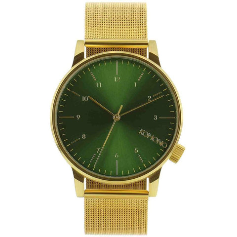 Komono KOM-W2355 Winston Royale Gold-Green Analog Quartz Watch, Gold Stainless Steel Band, Round 41mm Case