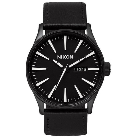 Nixon A105005 Men's Sentry Leather Black/White Analog Watch, Black Leather Band, Round 42mm Case