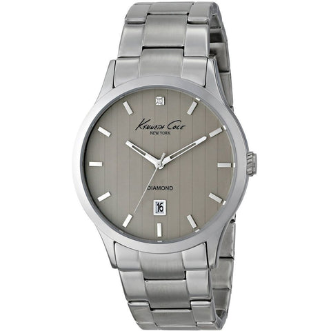 Kenneth Cole KC9368 Dress Sport Men's Analog Watch, Silver Stainless Steel Band, Round 42mm Case