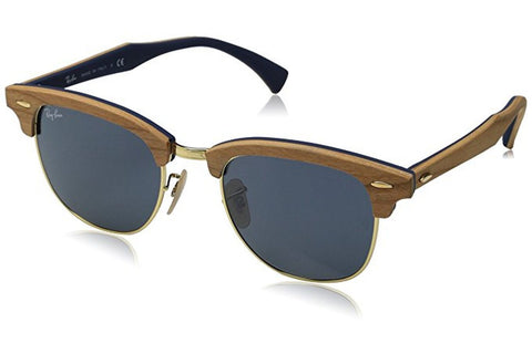 Ray-Ban RB3016M-1180R5 Clubmaster Wood Sunglasses, Brown Frame, Blue/Grey Non-Polarized 51mm Lenses