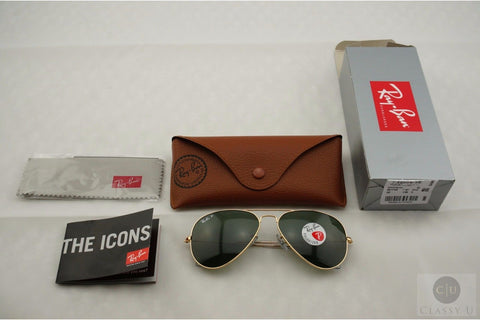Ray-Ban RB3025 001/58 Aviator Classic Sunglasses, Gold Frame, Polarized Green Classic 58mm Lenses