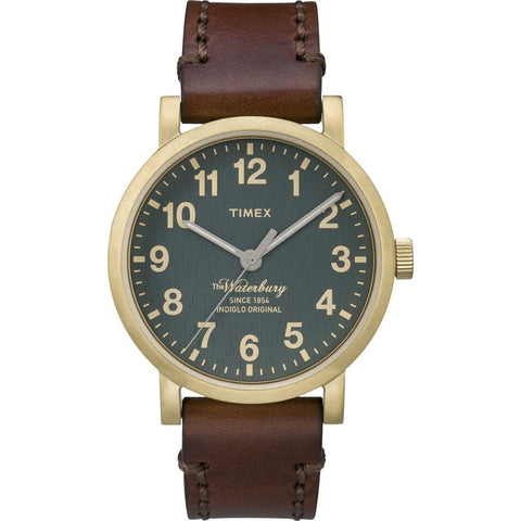 Timex TW2P58900AB Waterbury Men's Analog Display Quartz Watch, Brown Leather Band, Round 40mm Case