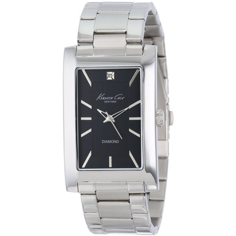 Kenneth Cole KC9284 Men's Analog Watch, Silver Stainless Steel Band, Rectangular 31mm Case