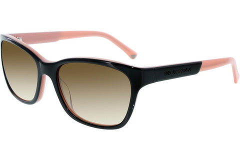 Emporio Armani EA4004-5046/13 Sunglasses - Black/Opal Pink Frame - Brown Gradient 56mm Lenses