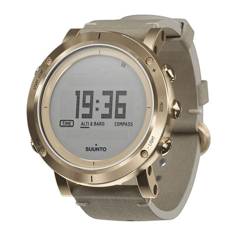 Suunto SS021214000 Essential Gold Digital Display Quartz Watch, Ivory Leather Band, Round 49.1mm Case