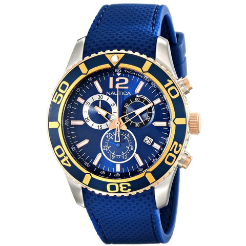Nautica NAD16502G NST 09 Men's Analog Display Quartz Watch, Blue Silicone Band, Round 44mm Case