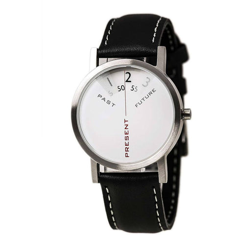Projects 7214L Past, Present and Future Analog Display Quartz Watch, Black Leather Band, Round 33mm Case