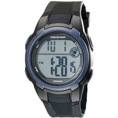 Timex T5K820M6 Marathon Digital Display Quartz Watch, Black Resin Band, Round 41mm Case