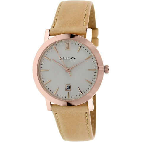 Bulova 97B144 Classic Analog Display Quartz Watch, Beige Leather Band, Round 38mm Case