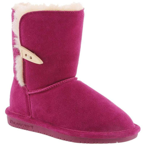 Bearpaw 682Y-671-M010 Kid's Abigail 6in Tall Boots, Pom Berry, Size 1 M US Little Kid