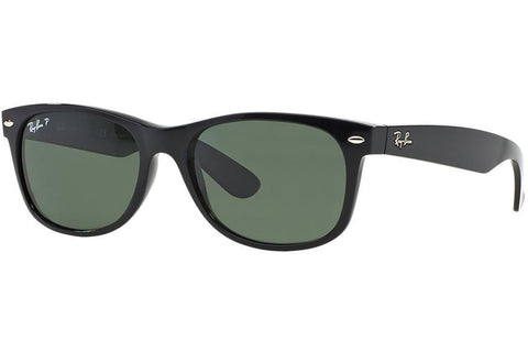 Ray-Ban RB2132 901/58 New Wayfarer Classic Sunglasses, Black Frame, Polarized Green Classic 55mm Lenses