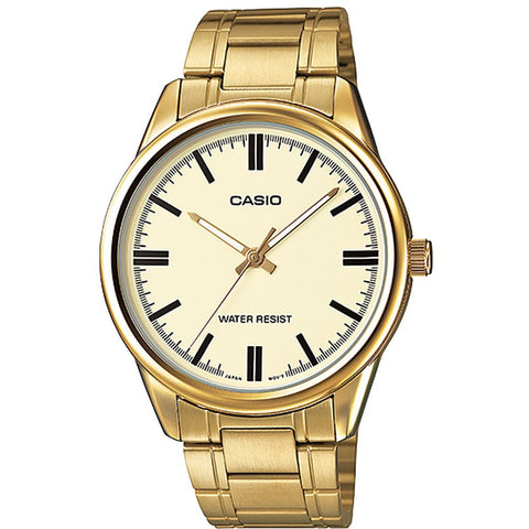 Casio MTP-V005G-9AUDF Analog Display Quartz Watch, Gold Stainless Steel Band, Round 40mm Case