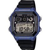 Casio AE-1300WH-2AVDF Youth Digital Display Quartz Watch, Black Resin Band, Square 42.1mm Case