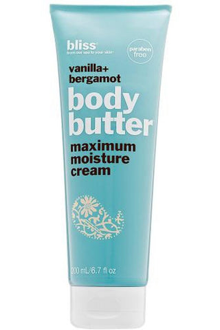 Bliss Vanilla + Bergamot Body Butter Maximum Moisture Cream 6.7 Oz