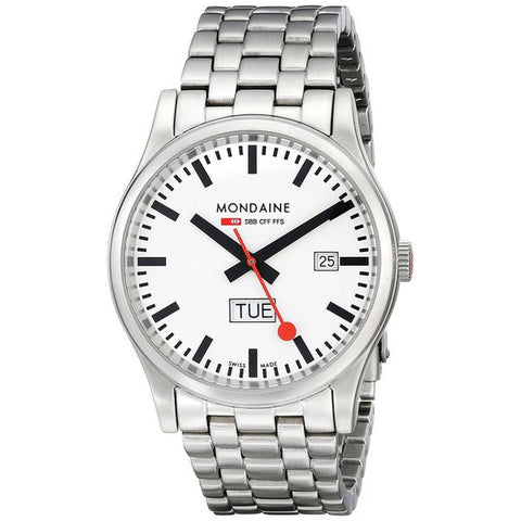 Mondaine A667.30308.16SBM Men's Sport Day Date Analog Display Quartz Watch, Silver Stainless Steel Band, Round 41mm Case