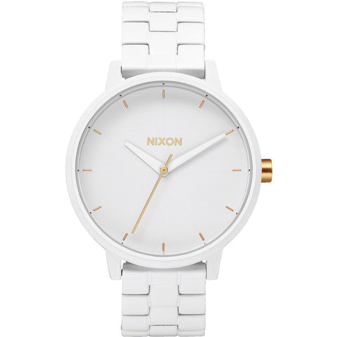 Nixon A0991035 Women's Kensington All White/Gold Analog Watch, White Stainless Steel Band, Round 37mm Case