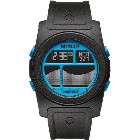 Nixon A385930 Men's Rhythm Black/Sky Blue Digital Watch, Black Polyurethane Band, Round 41mm Case