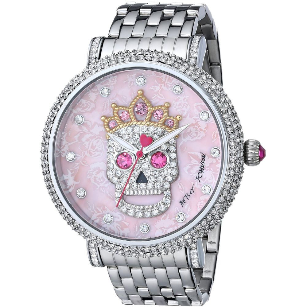 Betsey Johnson BJ00396-05 Women's Analog Display Quartz Watch - Silver Bracelet - Round 46mm Case