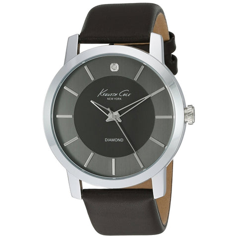 Kenneth Cole KC8069 Men's Analog Display Quartz Watch, Brown Leather Band, Round 44mm Case