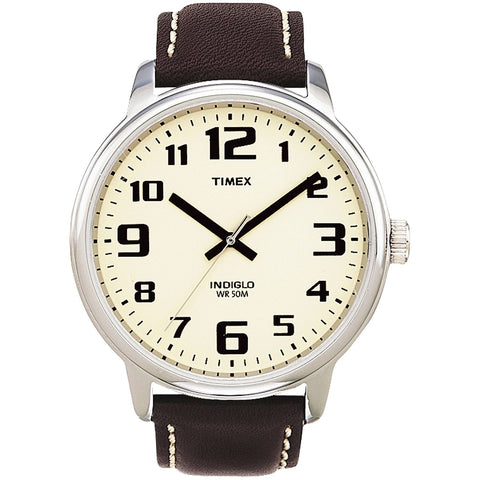Timex T28201 Easy Reader Analog Display Quartz Watch, Brown Leather Band, Round 45mm Case