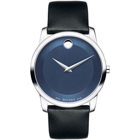 Movado 0606610 Museum Classic Analog Display Quartz Watch, Black Leather Band, Round 40mm Case