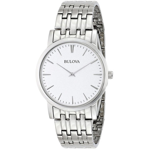 Bulova 96A115 Classic Analog Display Watch, Silver Stainless Steel Band, Round 38mm Case