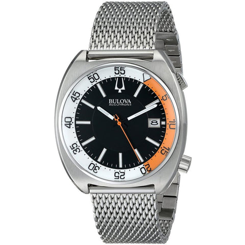 Bulova 96B208 Accutron II Snorkel Collection Analog Display Quartz Watch, Silver Stainless Steel Mesh Band, Round 43mm Case