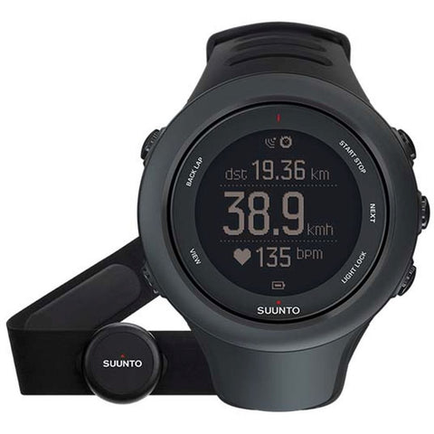 Suunto SS020678000 Ambit3 Sport Black (HR) Digital Display Quartz Watch, Black Elastomer Band, Round 50mm Case