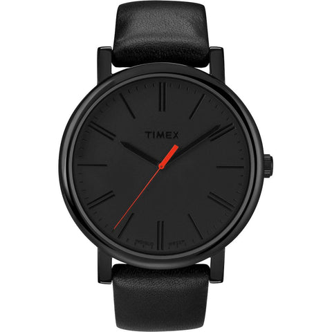 Timex T2N794 Originals Oversized Analog Display Quartz Watch, Black Leather Band, Round 42mm Case