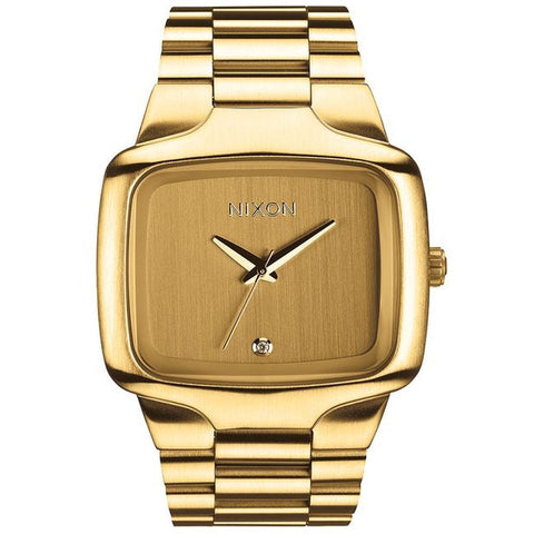 Nixon A487502 Men's Big Player All Gold Analog Display Quartz Watch, Gold Stainless Steel Band, Square 44mm Case