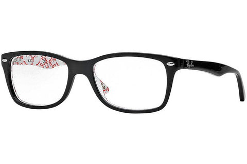Ray-Ban RX5228 5014 Eyeglasses, Black/White Frame, Clear 50mm Lenses
