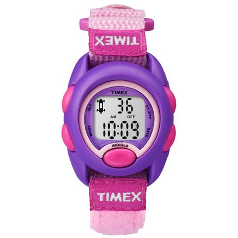 Timex TW7B997009J Kids Digital Display Quartz Watch, Pink Nylon Band, Round 33mm Case